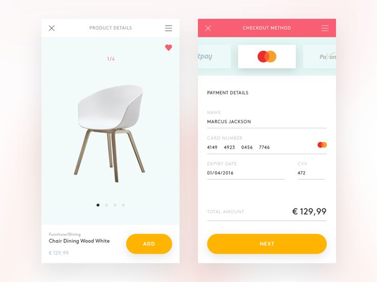 Cheers!  Here's a fresh shot displaying product and checkout method pages for Funspot ecommerce app that sells furniture.  Used fonts:  Brown – gorgeous and sexy bold font that makes strong typogra...
