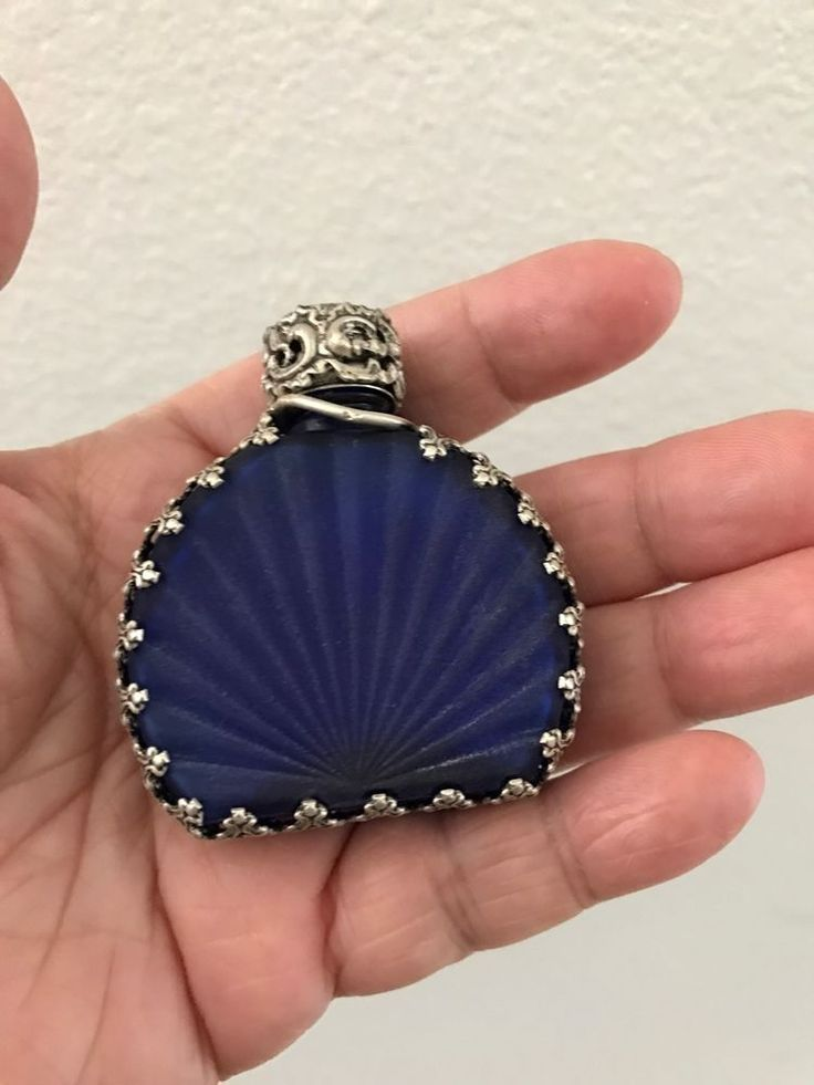 Vintage/art Deco French Small Perfume Bottle,Cobalt Blue Glass W/ Filigree Metal