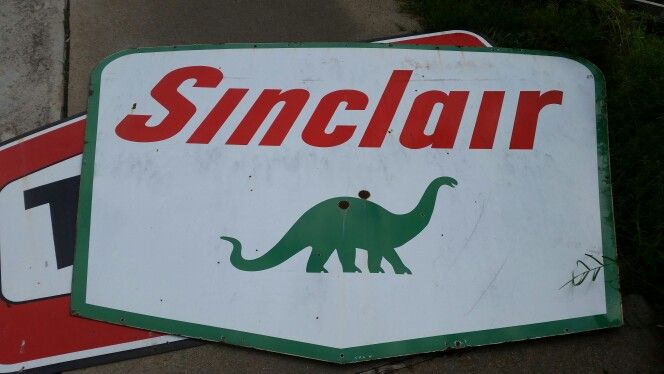 On ebay Sinclair Dino porcelain double sided gas sign