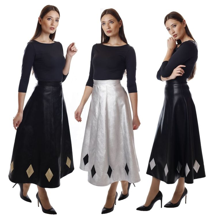 Midi leather skirts with rhombus details