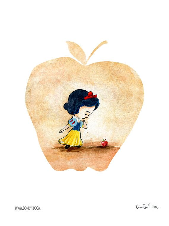 Snow White and the Poison Apple Watercolor by BenByrdArtwork