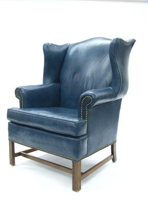 Ethan Allen Leather Wing Chair And Ottoman : Lot 317
