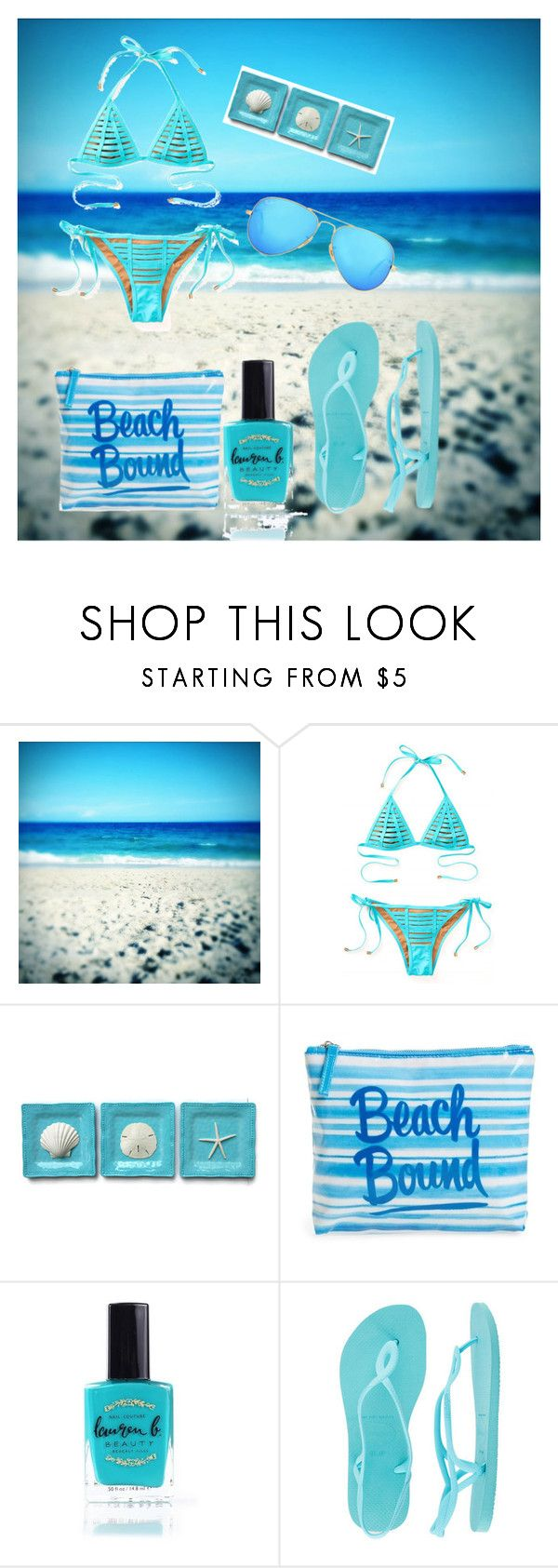 Blue Beach Day by fashionistaahri on Polyvore featuring Beach Bunny, Havaianas, ki-ele, Ray-Ban and Lauren B. Beauty