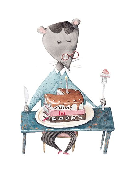 A fine art print entitled The Library Mouse by Irina Dobrescu!