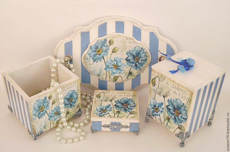 """Купить Набор для будуара """"Голубые маки"""" - голубой, будуар, изысканный подарок, подарок девушке"""