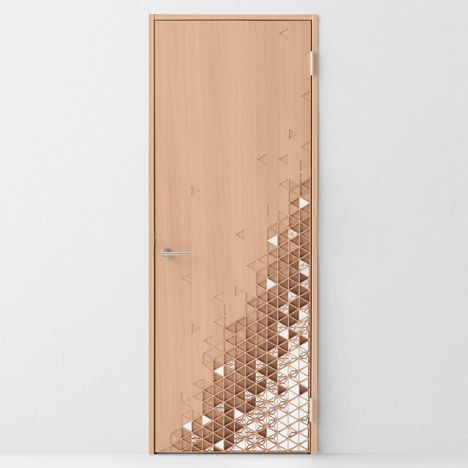 "Kumiko # Seven doors by Nendo for Abe Kogyo # ""This unit dims the very concept of a door, allowing it to blend into the wall to an unprecedented extent,"" Nendo said."