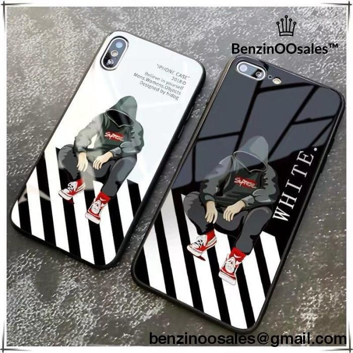 Check Out Off White Supreme At Http Www Benzinoosales Com Products Off White Supreme Tempered Glass Phone Case For Iphone X Iphone Cases Phone Cases Case