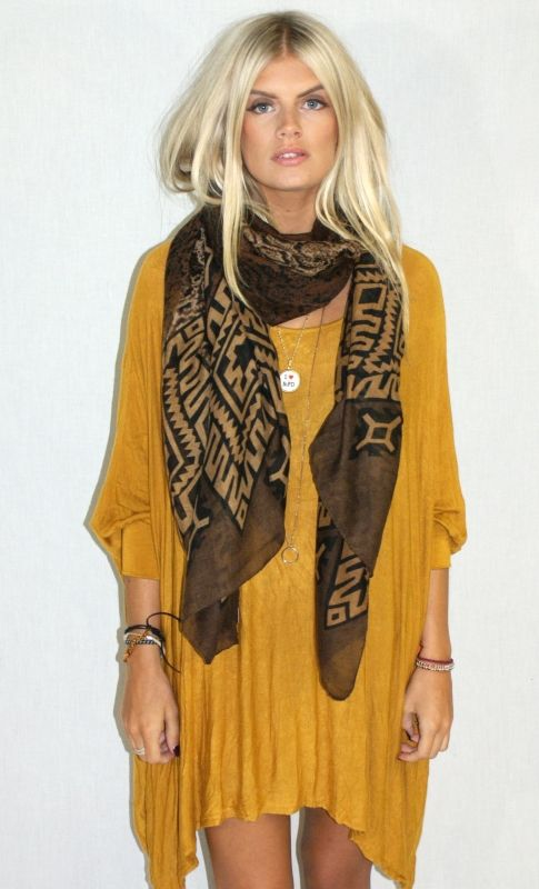 Brown tribal print scarf.