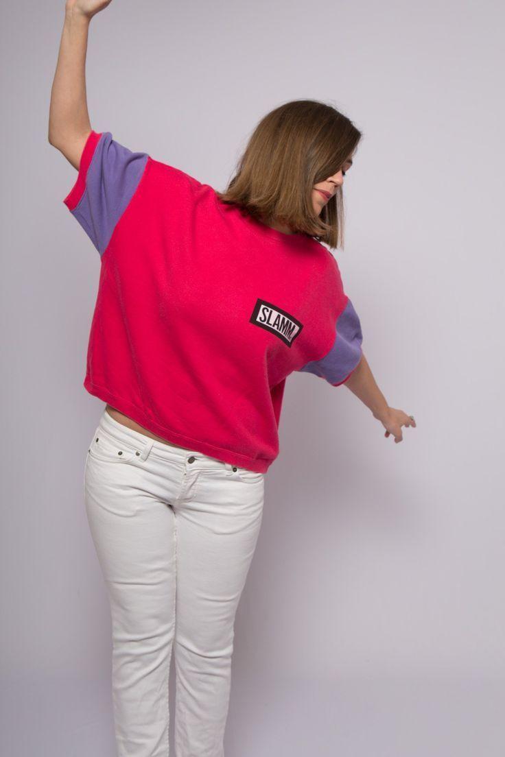 90er Jahre Farbe Block Parchen T Shirts Kawaii Pink Sweatshirt lila übergroße …