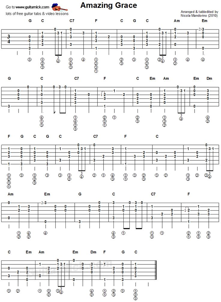 Amazing Grace - fingerstyle guitar tab
