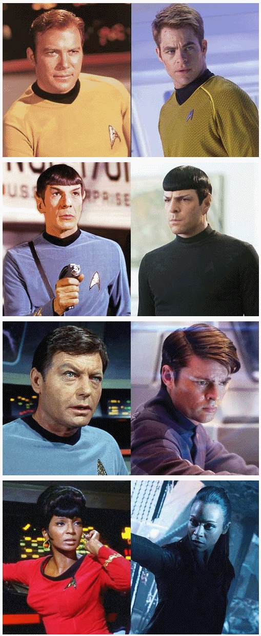 "Star Trek, TOS and AU: James T. Kirk, Spock, Leonard ""Bones"" McCoy, Nyota Uhura"