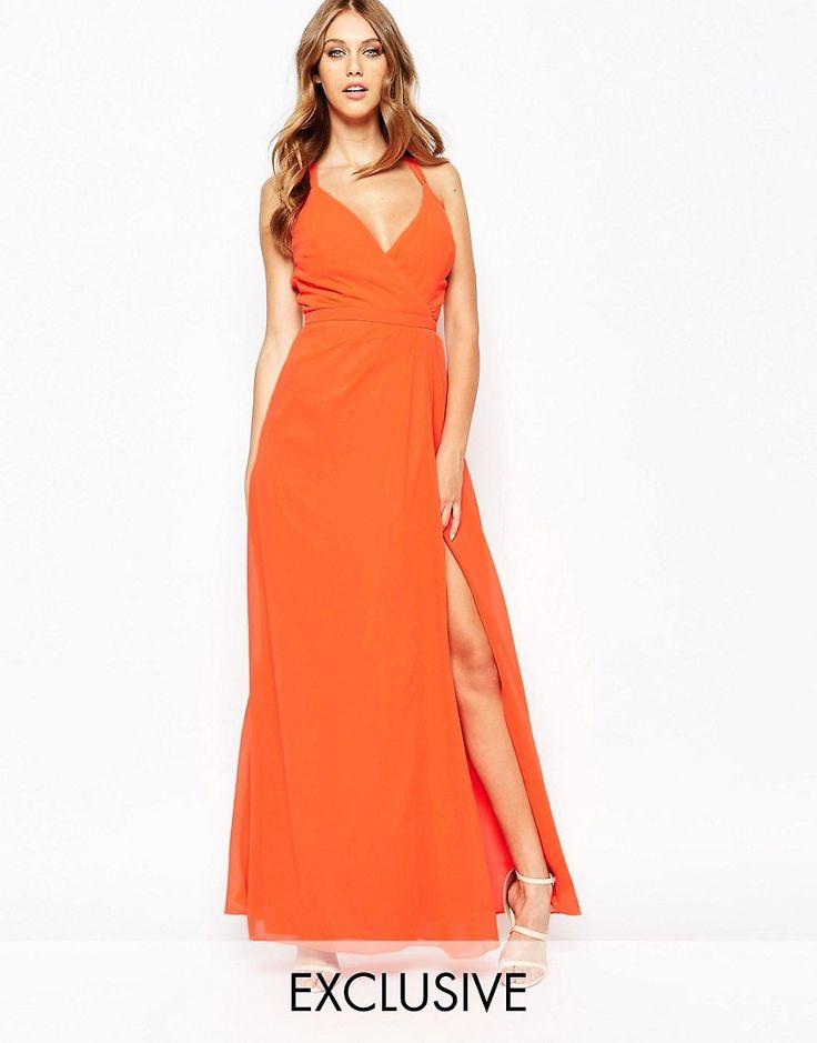 Fede Fame and Partners Deco Siren Wrap Front Cami Strap Maxi Dress With Thigh Split - Orange Fame and Partners Kjoler til Damer i behageligt materiale