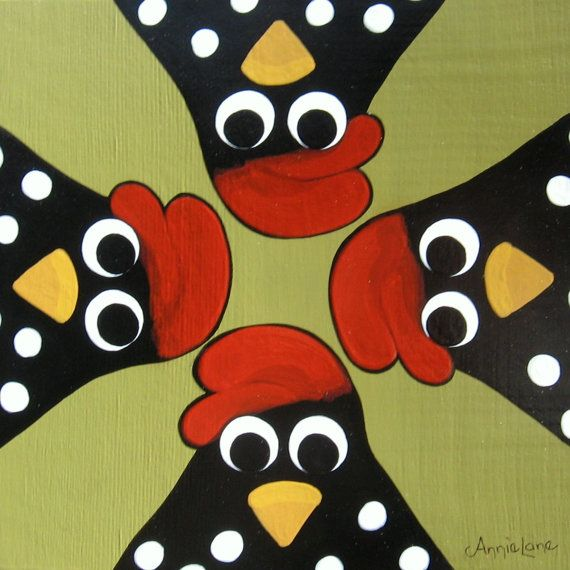 Bug - Whimsical Chicken Art, Chicken Painting on Wood, Whimsical Folk Art Chickens, Humorous Farm Animals Painting, Funny Chickens Art @ https://www.etsy.com/shop/AnnieLane