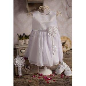 Sukienka do chrztu Ola - w kolorze białym, zapinana na springi #sukienka #chrzest #dochrztu