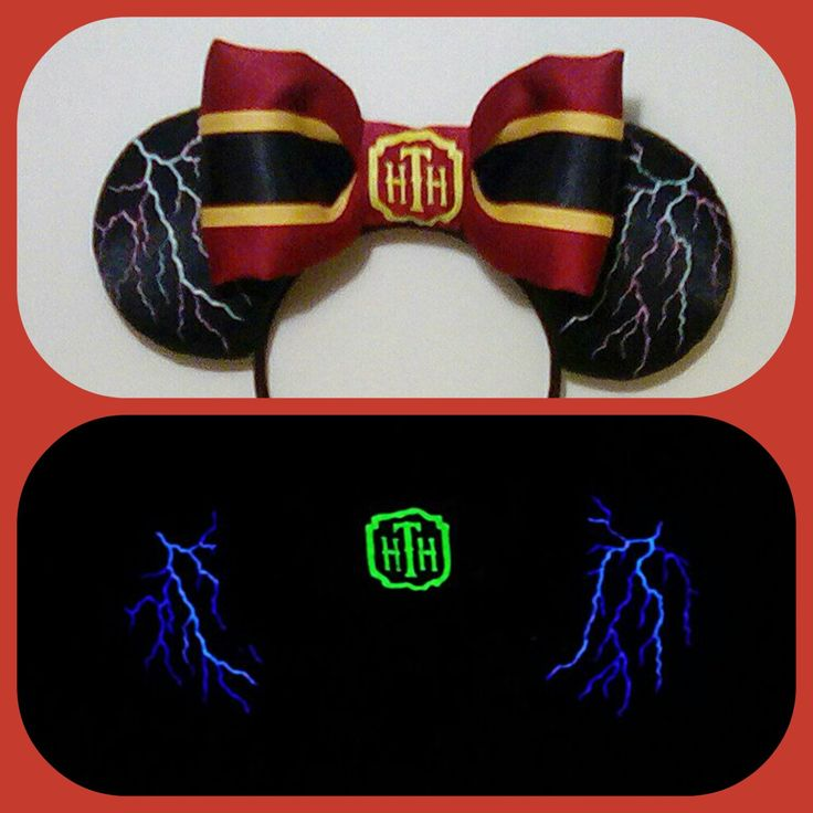 Glow in the Dark Tower of Terror Minnie Mouse Ears, Hollywood Tower Hotel Bellhop Ears, Mickey Ears, Minnie Ears, personalized ears by Earsboutique on Etsy https://www.etsy.com/listing/274039440/glow-in-the-dark-tower-of-terror-minnie