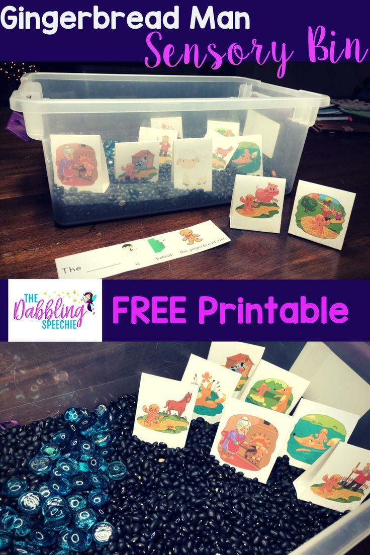 The Dabbling Speechie: Fun Gingerbread Man Sensory Bin with FREE Printable! Pinned by SOS Inc Resources at www.pinterest.com/sostherapy/