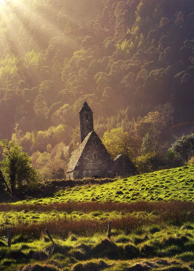 Sundrenched chruch in Glendalough, Ireland