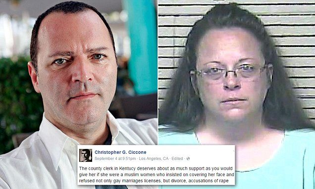 """""""Madonna's gay brother defends jailed Kentucky clerk""""  I think Christopher Ciccone made a ton of great points; it undoubtedly took some courage for him to post that on Facebook.  http://www.dailymail.co.uk/news/article-3224030/Madonna-s-gay-brother-defends-Kentucky-clerk-Kim-Davis.html"""