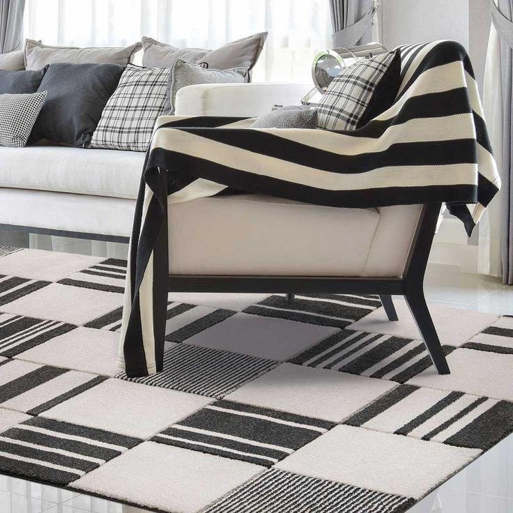 Tappeto moderno geometrico bianco e nero Balta Blend di