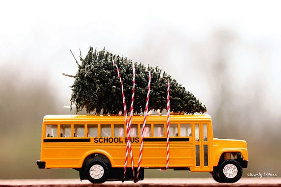 School bus christmas tree holidays fine art