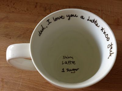 i LOVE the writing at the bottom. so cute when you know how your loved one takes his/her coffee