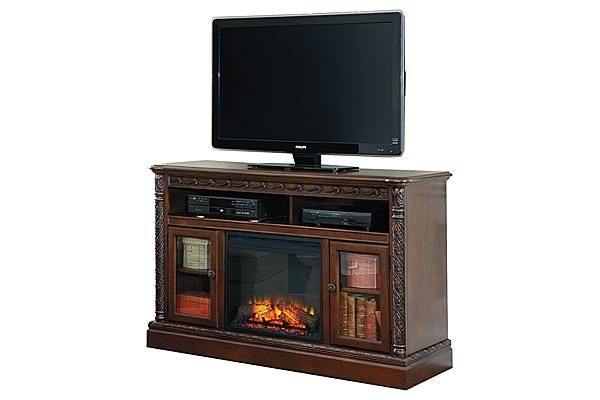 The North Shore TV Stand w Fireplace from Ashley