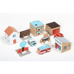 Papierowe Miasto Wersja 1 - Garaż i Samochody - Tekturowa zabawka dla Dzieci od lat 3. Zawiera: 4 arkusze tektury z kolorowym nadrukiem oraz instrukcję