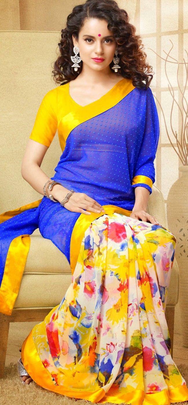 Kangana in blue and offwhite saree: KSR2590