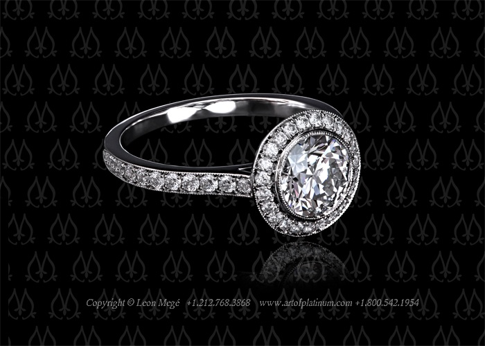 buy halo Meg   online stone ring round engagement air by Leon ireland Millegrain with max