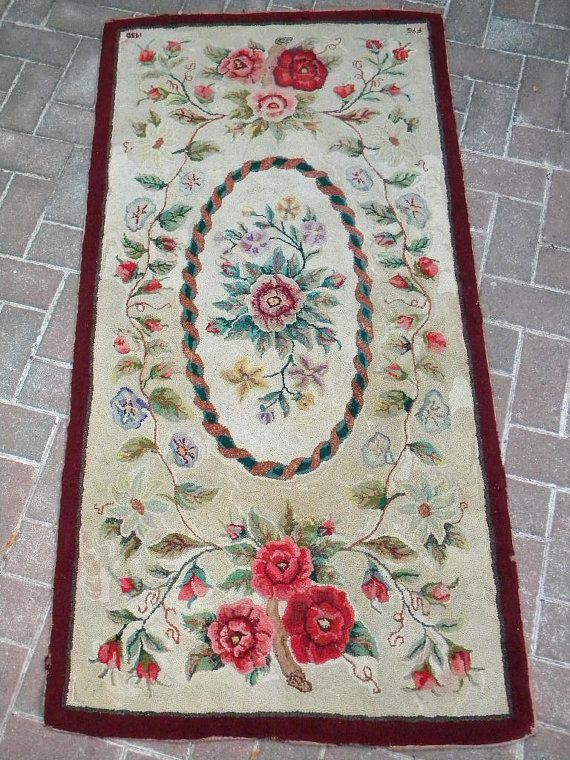 1930 Hand Hooked Wool Rug
