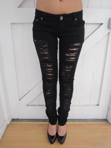 17 Best images about Ripped skinny jeans on Pinterest | Distressed jeans Torn jeans and Black ...