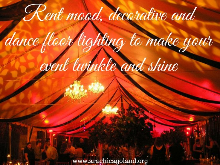 Rent mood, decorative and dance floor lighting to make your event twinkle and shine.