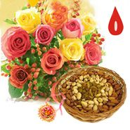 Express Rakhi Flowers With Dry fruits Online