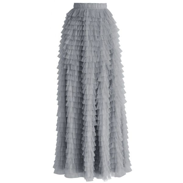 Chicwish Swan Cloud Maxi Skirt in Grey (€56) ❤ liked on Polyvore featuring skirts, bottoms, grey, layered maxi skirt, gray maxi skirt, floor length maxi skirt, lace maxi skirt and long maxi skirts