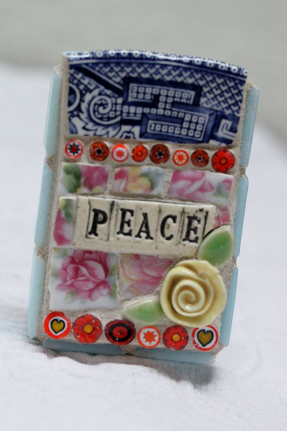 PEACE pique assiette mosaic art by Lisabetzmosaicart on Etsy, $23.00