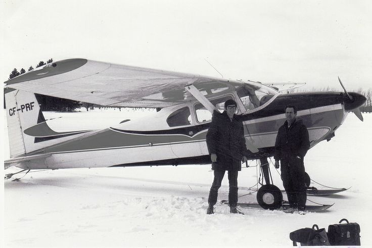 Cessna 172 on skis in January 1971. We had just landed in Port Elgin on a snow covered field, Ontario Canada. I (Joe Hollick) am the person on the left.