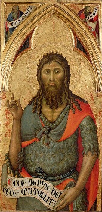Лука ди Томме (работал в 1356-89 в Сиене) - Иоанн Креститель (100х49 см) 1390-е. Музей Гетти (J. Paul Getty Museum)