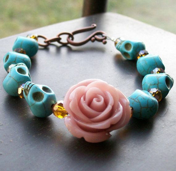 Sugar Skull Jewelry Day of the Dead Blush Rose and Sugar Skull Bracelet Halloween jewelry on Etsy, $22.00