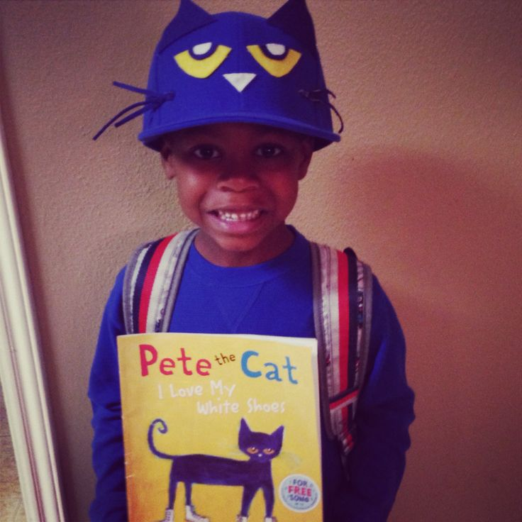 "Pete the Cat for storybook parade  Couldn't find a blue beanie cap or royal blue dye so we used a cap and I think it turned out great. My son said ""Mommy you can make anything!""  Cap + Felt + Scissors & Glue Gun = Priceless Smiles from my son!"