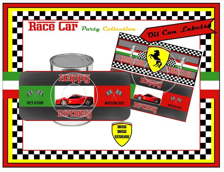 """Ferrari Racing Party Oil Can Labels by Bella Bella Studios ~ simply apply to fruit or vegetable cans for a fun """"motor oil"""" affect! We customize for you. www.Etsy.com/shop/BellaBellaStudios #Ferrari #party #partyideas #racing #indy500 #boypartyideas #printables #bellabellastudios #customdesigns #blackstallion #checkeredflags #ferrariinvitations #ferraritags #ferraricupcaketags #ferrarisigns #ferraricar #racingparty #oilcanlabels #partylabels #racecarlabels #ferrarilabels"""