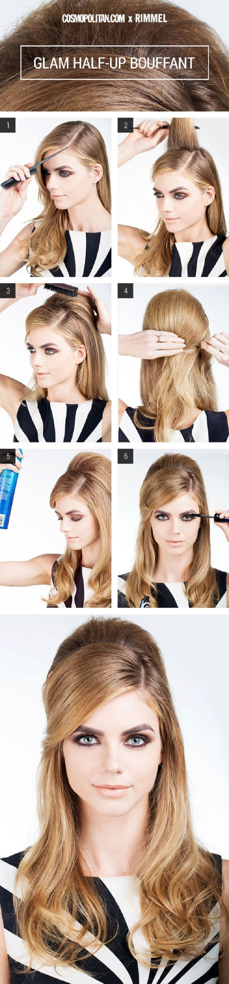 Hair How-To: Glam Half-Up Bouffant - 12 Hairstyle Tutorials for Lazy Girls | GleamItUp