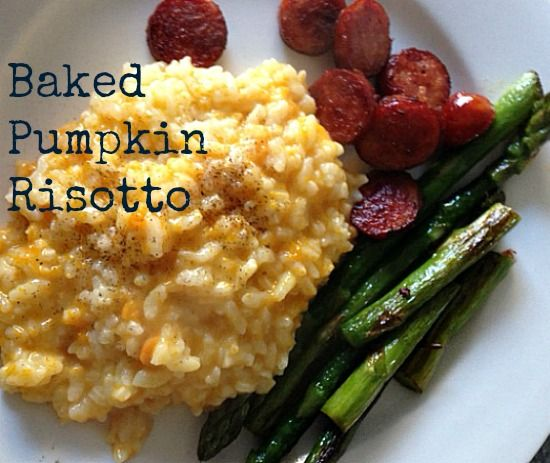 This quick and easy baked pumpkin risotto recipe is a great week night meal for families.