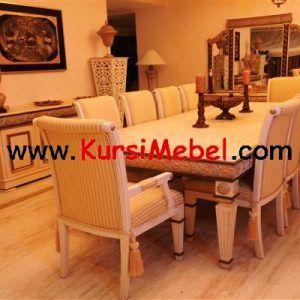 Set Kursi Meja Makan Putih Jepara Terbaru