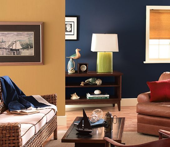 Get inspiration for your living room colors with our picture gallery.: Golden Tan and Blue Living Room