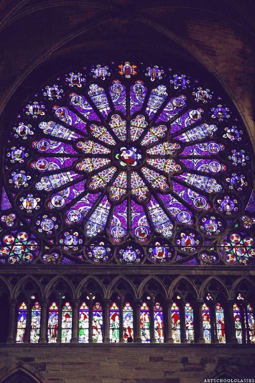 The rose window inside Saint Denis, Paris, France.