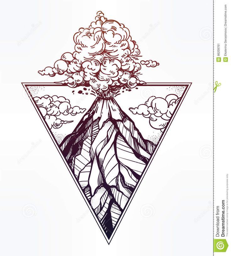 Hand Drawn Volcano In Triangle Frame Artwork. - Download From Over 58 Million High Quality Stock Photos, Images, Vectors. Sign up for FREE today. Image: 86209761
