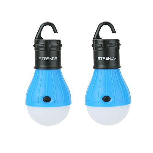 E-TRENDS Battery Powered Portable LED Lantern Light Bulb has a hanging hook design and is water resistant. The dimmer control feature is designed to save energy and maintain long battery life; it is easily adjusted with a button allowing you to choose from these settings: On-bright (150 lumens), on-dim, SOS blinking and off. Each lantern light bulb runs on 3 AAA batteries.