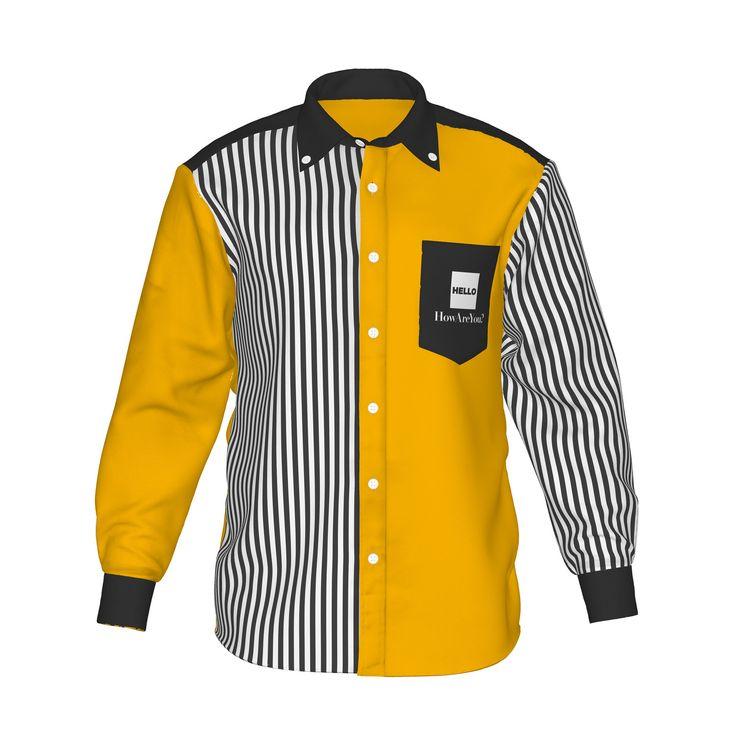 ●活気を感じるイエローと白黒ストライプ。●カラーの存在感が際立つ、ストライプ柄と組み合わせたアシンメトリーデザイン。●メンズ・レディース問わず着用していただけるデザイン。■「Hello」は『制服でも、ユニフォームでも、タウンファッションでも。演出シーンはあなた次第。』がコンセプト。■襟・袖・ポケットにアクセントカラーを使用した「HELLO」の「Accent」シリーズ。/HELLO Accent03 YEL - 黄×黒ストライプ - HELLO