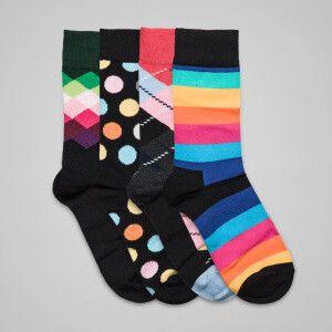 4 paia di calzini motivo a rombi, pois e a righe  nero, multicolore