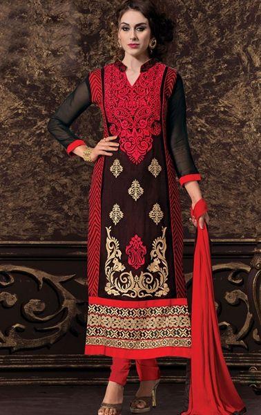 Beautiful Black Color Embroidered Salwar Kameez